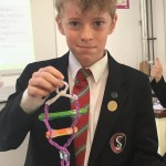 Ollie used lolly sticks and pipe cleaners for his double helix model